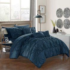 Chic Home Grantfield Bed in a Bag Comforter Set Navy - CS3604-HE