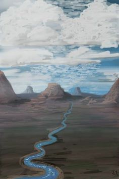 """I drew this on my phone using an app called """"brushes"""" and using a stylus pen. It's a landscape similar to the Grand Canyon or the Monument Valley area in America."""
