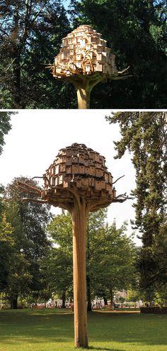 A Dense Cluster of Birdhouses by Artist Bob Verschueren Rests in a Treetop Colossal Art, Land Art, Installation Art, Bird Houses, Sculpture Art, Bees, Art Drawings, Butterflies, Street Art