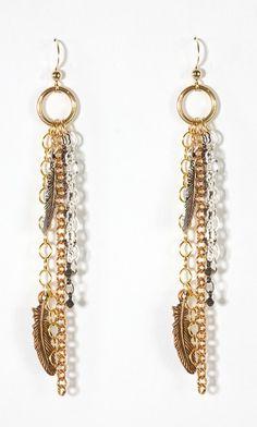 Heather Feather Earrings $64 #SF