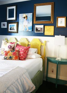 Master bedroom wall inspiration? Love the dark blue color, & the white paneling breaks things up. Wonder if Hubs would like it.