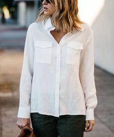 White Pocket Button-Up Top - Plus Too #zulily #zulilyfinds