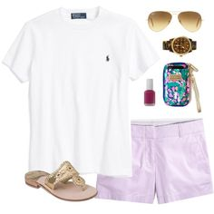 rl & lavender by classically-preppy on Polyvore featuring J.Crew, Jack Rogers, Michael Kors, Ray-Ban, Essie and Ralph Lauren