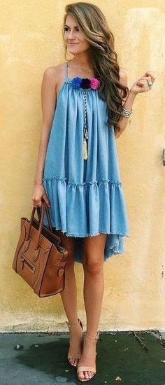 #summer #outfits #inspiration | Chambray Pom Pom Dress
