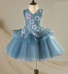 Embroidered Flower Applique Dress-Blue Gray Embroidery Flower Applique Sweetheart Neckline Pageant Prom Princess Junior Bridesmaid Tiered Layered Dress Perfect for Birthday, Wedding or any special day. Available from 3 until 12 years old  Material: Organza, cotton, tulle mesh Please do compare your  little girl measurements with our size chart below before deciding her size