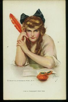 "Nikolai postcard of a pretty woman with a red quill pen ""I've a Thought For You"" circa 1910"