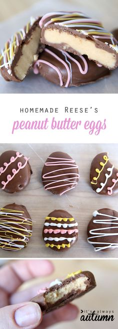 Yummy homemade Reese's peanut butter & chocolate eggs are delicious and only take 4 ingredients! Easy recipe for a fun Easter treat candy homemade peanut butter eggs ingredients} - It's Always Autumn Desserts Ostern, Köstliche Desserts, Holiday Desserts, Dessert Recipes, Spring Desserts, Spring Recipes, Holiday Treats, Diet Recipes, Recipies