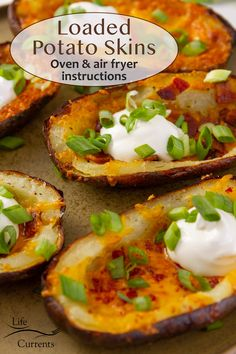 Loaded potato skins with bacon, cheese, sour cream, and green onions on a plate. Air Fryer Dinner Recipes, Air Fryer Recipes, Appetizer Recipes, Snack Recipes, Appetizers, Tailgating Recipes, Tailgate Food, Good Healthy Recipes, Whole Food Recipes