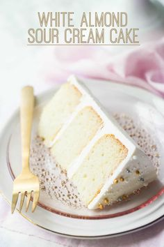 White Almond Sour Cream Cake: easy, from scratch recipe that bakes up so moist and flavorful! White Almond Sour Cream Cake: easy, from scratch recipe that bakes up so moist and flavorful! Easy White Cake Recipe, Easy Vanilla Cake Recipe, Chocolate Cake Recipe Easy, Chocolate Cookie Recipes, Almond Sour Cream Cake Recipe, White Cake Recipe Using Oil, 4 Inch Cake Recipe, Food Cakes, Cupcake Cakes