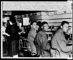 1960 February 1, 1960 - Four black college students from North Carolina Agricultural and Technical College in Greensboro, North Carolina stage a sit-in at a segregated Woolworth lunch counter, protesting their denial of service. This action caused a national campaign, waged by seventy-thousand students, both white and black, over the next eight months, in sit-ins across the nation for Civil Rights.