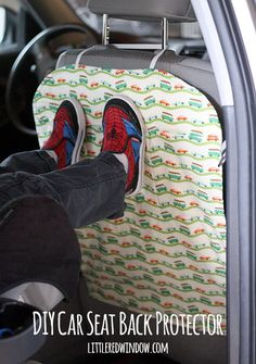 DIY Car Seat Back Protector - keep the backs of your car seats clean and free of dirty little footprints! | littleredwindow.com