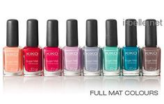 NAIL POLISH :: Kiko Milano Sugar Mat Nail Lacquers... 631 Peachy, 632 True Red, 633 Magenta, 634 Lilac, 635 Wisteria, 636 Mint, 637 Turquoise, 638 Taupe :: Inspiration for multi-colored mani color combos!