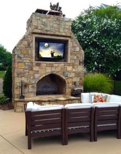 Outdoor fireplace.. Like the tv idea so if u wanted to have people over to watch a football game or just let the kids chill.
