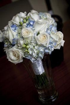 Light Blue arrangement | white rose, light blue hydrangea bouquet