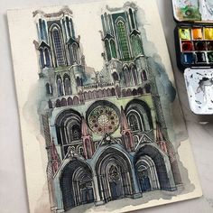 Beautiful #architecture #watercolor #illustration by Permana Siddiq (@pmnsidik) which adds some great coloring to the gorgeous piece of Gothic architectural design that is Laon Cathedral in #Laon Picardy France. (Note that the cathedral does have this coloring but it was instead a terrific choice on behalf of the #artist.) The #shadows in the #alcoves of the #cathedral's #Gothic #vaulted #arches mixed with #vibrant #palette of colors adds a real amazing depth to this #painting. Permana…