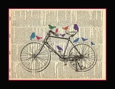 Bicycle and Birds Book Page Art, Book Art, Altered Books Pages, Bicycle Cards, Art Assignments, Newspaper Art, Retro Bicycle, School Art Projects, Bird Cards