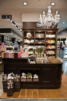 Sabon Rome Coin  Coin dept store, Rome, Italy - Mixing Black and brown shelving units.