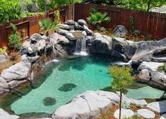 Image result for how to build a natural pool Backyard Beach, Backyard Pool Designs, Small Backyard Pools, Small Pools, Swimming Pool Designs, Pool Landscaping, Outdoor Pool, Beach Pool, Backyard Ideas