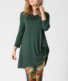 Another great find on #zulily! Hunter Green Asymmetric Three-Quarter Sleeve Tunic #zulilyfinds
