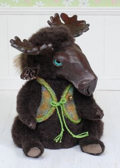 120$ + shipping, Moose art doll ooak by iasio