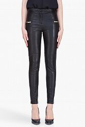 Slim fit pebbled leather pants in black. Gold tone hardware. Zip pockets at front. Vertical darts at rear. Zip cuffs. Tonal stitching. Zip fly.