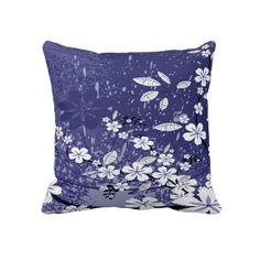 White Flowers on Blue Grunge Designer Throw Pillow -- -- produced by sustainably employed single moms in the USA -- getting thier Mojo back