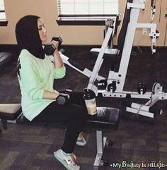 Hijab fashion sport   We Heart It   fashion, fitness, and girl