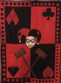 Harley Quinn Quilt for purchase on Etsy!  https://www.etsy.com/shop/doorbeedesigns