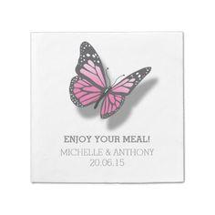 Pink Gray Butterfly Wedding Standard Cocktail Napkin