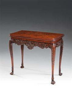 AN IRISH MAHOGANY CARD TABLE Circa: 1740