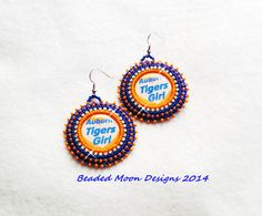 Auburn Tigers girl earrings, leather backed ~ https://www.facebook.com/pages/Beaded-Moon-Designs/229870373249