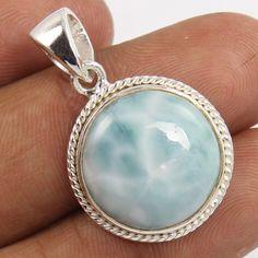 925 Sterling Silver Pendant Natural LARIMAR Gemstone Fabulous ! For Loved Ones #Unbranded #Pendant
