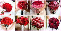 Bryllup bukett røde roser - en kombinasjon av alternativer med andre farger, bilder