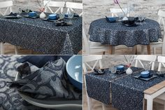 Jacquard linen table collection (tablecloth, table runner, table napkins) with blueish silver shimmer.