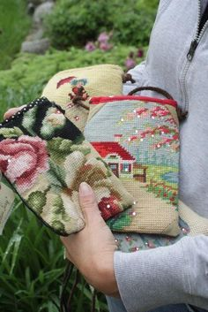Cellphone needlepoint cross body bags