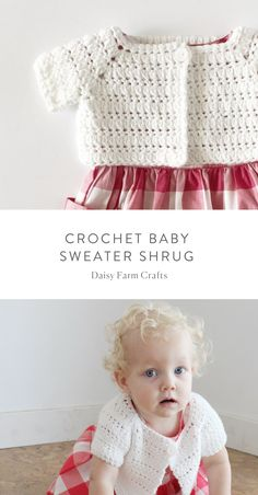 Crochet Baby Girl Free Pattern - Crochet Baby Sweater Shrug - For a long time I've always thought it would be cute to have a go-to crochet pattern for little baby sweater shrug to go with all the adorable sleeveless dresses I see and always want to buy. Baby Doll Clothes, Crochet Baby Clothes, Crochet Baby Hats, Baby Blanket Crochet, Crochet Headband Pattern, Afghan Crochet Patterns, Baby Patterns, Clothes Patterns, Dress Patterns