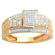 Elora 10k Yellow Gold 1/3ct TDW Round and Baguette White Diamond Bridal Ring (H-I, I1-I2) (Size 8.5, Yellow Gold)