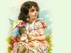 Royalty Free Victorian Illustration of a Young Girl Holding a Doll With a Parasol