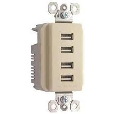 Pass & Seymour Quad USB Charger, #TM8USB4ICC6