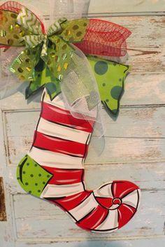 Christmas Stocking Door Hanger Christmas Door by BluePickleDesigns, $45.00