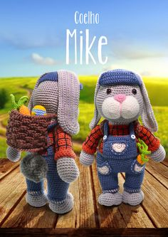 Receita Amigurumi Coelho Mike com Fio Amigurumi - Blog do Bazar Horizonte Easter Crochet, Crochet Bunny, Crochet Animals, Crochet Dolls, Crochet Yarn, Free Crochet, Amigurumi Toys, Amigurumi Patterns, Crochet Patterns
