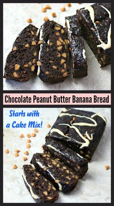 This decadently easy Chocolate Peanut Butter Banana Bread starts with a cake mix, some bananas and yummy peanut butter chips!  It doesn't get any simpler or more delicious than that!  Plus, there's a little something different you can do with the leftovers! Click to read more!