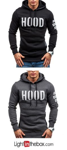 ba17f209f813e Men s Sports Casual Daily Hoodie Letter Cotton Long Sleeve Fall Winter Fall  Winter, Casual