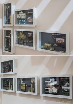LEGO & IKEA kasseby Idea The fun of LEGO most of the time is at the time of building while displaying the complete built often have space concern. Here is a good way… - Practical Lego Architecture Lego Display Shelf, Lego Shelves, Display Cabinets, Lego Design, Lego Regal, Legos, Vitrine Ikea, Lego Wall, Plans Architecture