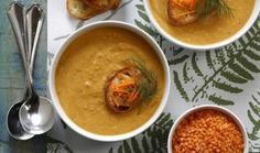 Roasting carrots brings out their natural sweetness. Together, with roasted garlic, they add wonderful flavour to this pretty and satisfying split red lentil soup. Carrot And Lentil Soup, Roasted Carrot Soup, Roasted Sweet Potatoes, Roasted Garlic, Soup Recipes, Vegetarian Recipes, Diabetic Recipes, Broccoli Curry, Red Split Lentils