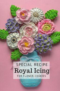 Cookie Bouquet, Flower Cookies, Best Royal Icing Recipe, Cupcake Cakes, Cupcakes, Halloween Flowers, Icing Flowers, Printable Recipe, Summer Cookies