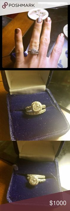 Platinum engagement ring and wedding band Under 1 carat. Antique look. Platinum. Sized small around 4.5. Diamond is top heavy so appears larger. One side had a small diamond replaced lending to slight imperfection in platinum.   Make an offer. Jewelry Rings
