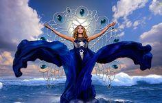 sea, Dress, Women, Blue