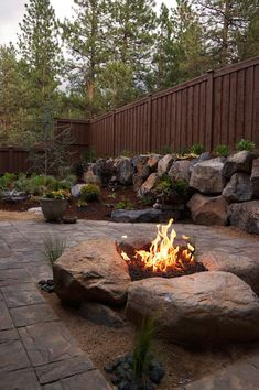 Paver Patio & Gas fire pit in Northwest Bend, Oregon. Paver Patio & Gas fire pit i
