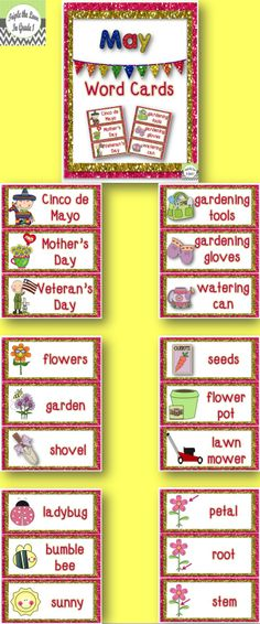 $1 May Word Cards - tons of uses! Display on word wall or bulletin board, place in writing baskets, or use as flash cards.